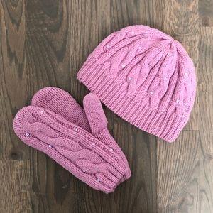 GAP Dusty Pink Hat/Mitten Set with Sequins